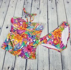 LAUREN RL | floral halter tankini bikini swim suit